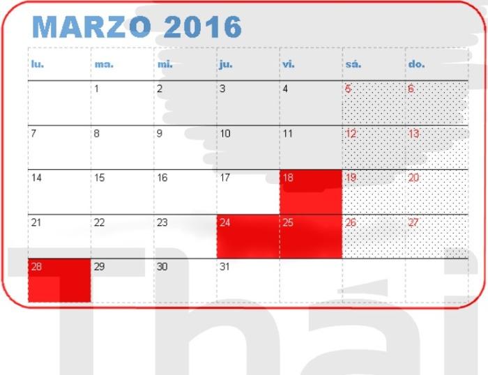 Festivos en Marzo | Holidays inMarch